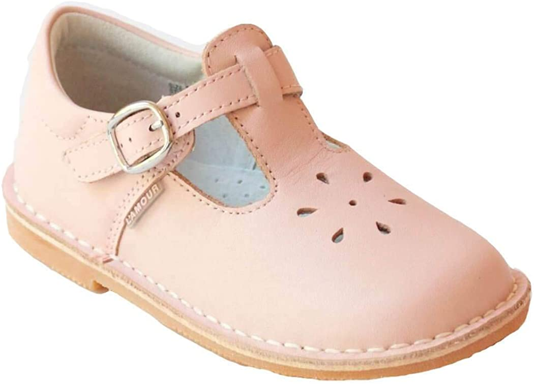 L'Amour Toddler Girls Light Pink Buckle Flower Cutout Shoes 8