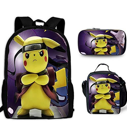 HOOBBI 3 Pieza Detective Pikachu Mochila Escolar del Estudiante Bolsa de Pikachu niños de Dibujos Animados Mochila con Bolsa de Almuerzo lápiz Bolsa (Color : Pikachu2, tamaño : 17inch)