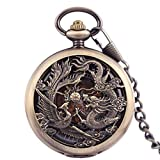 ZTMN Reloj de Bolsillo mecánico Antiguo para Hombre Lucky Dragon & Phoenix Retro Skeleton Dial con Cadena