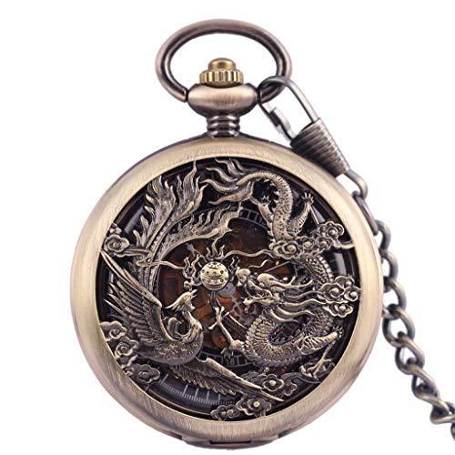Reloj de Bolsillo Vintage Reloj de Bolsillo mecánico Antiguo para Hombre Lucky Dragon & Phoenix Dial Esqueleto Retro con Cadena Relojes de Bolsillo clásicos
