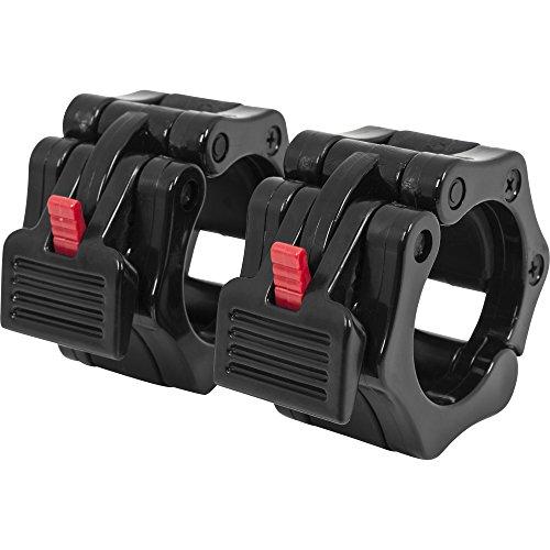 GORILLA SPORTS Schnellverschlüsse für Hanteln 50/51 mm – 2er Set Hantelverschlüsse Kunststoff Rot/Schwarz