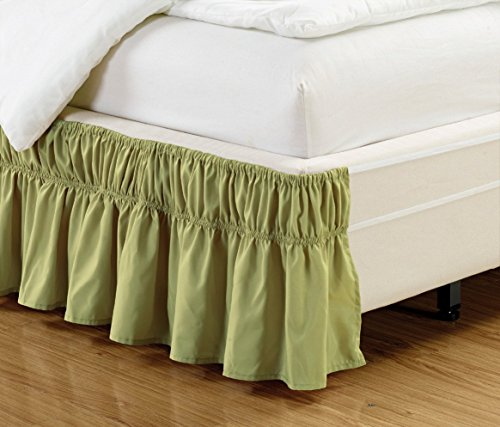 Easy Fit, Wrap Around SAGE Green Ruffled Solid Bed Skirt Fits Both Queen and King Size Bedding Soft 90 GSM Microfiber Fabric Allows for Natural Draping, 14' Fall