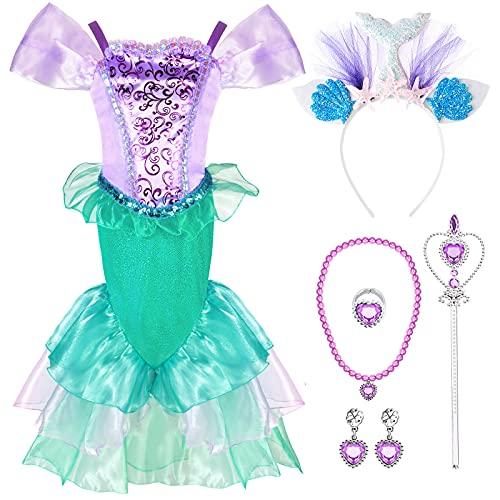 Tacobear Costume Sirena Bambina Vestito Sirena con Cerchietto Sirena Principessa Accessori Bacchetta Magica Sirenetta Costumi Compleanno Festa Carnevale Halloween Ariel Cosplay (120, 5-6 Anni)