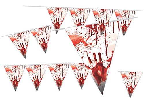 TK Gruppe Timo Klingler Guirnalda de banderines de 300 cm, guirnalda sangrienta, banderines, guirnalda terrorífica, decoración de Halloween
