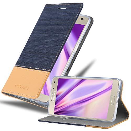Cadorabo Coque pour Samsung Galaxy A5 2015 en Bleu FONCÉ Marron - Housse Protection avec Fermoire Magnétique, Stand Horizontal et Fente Carte - Portefeuille Etui Poche Folio Case Cover