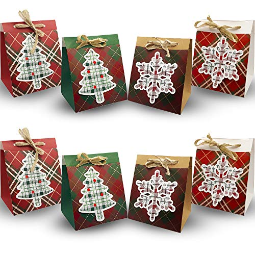 NIMU 12 Pack Premium Christmas Party Gift Bag with Special Design Assorted Xmas Theme Designs Reusable Craft Paper Boxes for Presents Candies Bundle Gift Wrapping Bag Great Holiday Bulk Prime