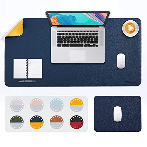DOBAOJIA Tappetino per Mouse Grande Mouse Pad XL Sottomano da Ufficio Laptop Tappetino Scrivania Tappetino Scrittura, 2 Pacchi 80x40 + 28x20 cm Cucito Uso Doppio Lato Simipelle PU (Blu Scuro/Giallo)