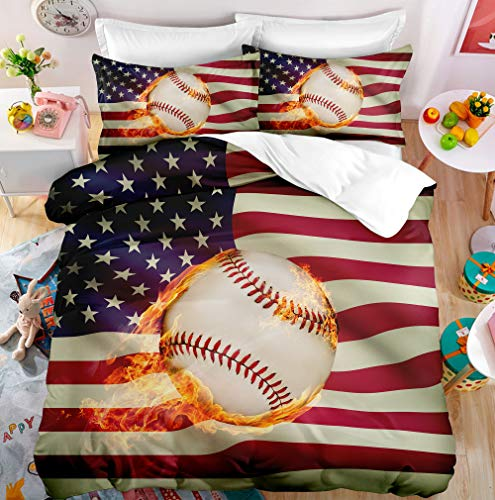 """Abstract American Flag Baseball Cotton Microfiber 3pc 90""""x90"""" Bedding Quilt Duvet Cover Sets 2 Pillow Cases Queen Size"""