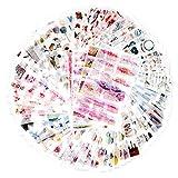 72枚入 980小片 手帳シール 和紙 自然ガーデニング植物 花 手絵 DIY 手帳ステッカー 種類いろいろ ウキウキセット スケジュールシール ギフトシール (十代の感情)