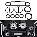 9 PCS Motorcycle Stereo Accent Speedometer Gauge Bezel Trim Ring Speaker Cover For Harley Touring 1996-2013