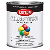 Krylon K05628007 COLORmaxx Acrylic Latex Brush On Paint for Indoor/Outdoor Use, Quart, White