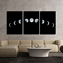 wall26 - 3 Piece Canvas Wall Art - Nine Phases of The Full Growth Cycle of The Moon Isolated on Black Background - Modern Home Decor Stretched and Framed Ready to Hang - 16x24x3 Panels