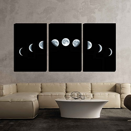 """wall26 - 3 Piece Canvas Wall Art - Nine Phases of The Full Growth Cycle of The Moon Isolated on Black Background - Modern Home Art Stretched and Framed Ready to Hang - 16""""x24""""x3 Panels"""