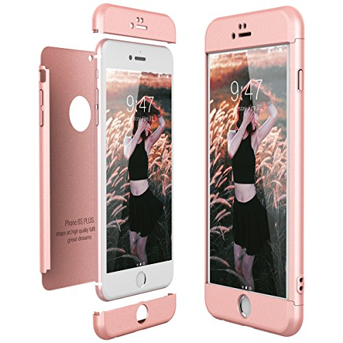 CE-Link Funda para Apple iPhone 6 Plus 6S Plus Rigida 360 Grados Integral, Carcasa iPhone 6 Plus Silicona Snap On Diseño Antigolpes Choque 3 en 1 Estructura - Oro Rosa