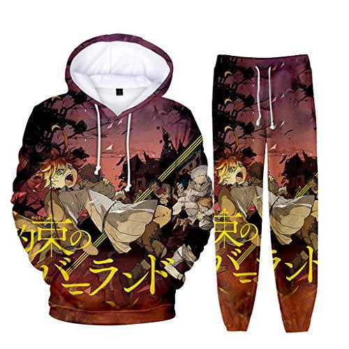 Moletom 3D The Promised Neverland com capuz e calça de moletom Emma Norman Ray Cosplay Anime moletom e calça jogger para homens e meninos, 8, G