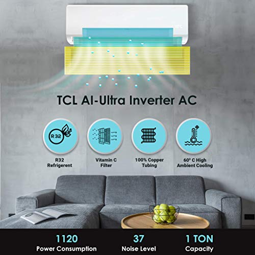TCL 1 Ton 3 Star Ultra-Inverter Split AC (Copper, Vitamin C Filter, 2021 Model, TAC-12CSD/EV3, White)
