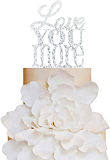 Glitter Silver Love You More Wedding Cake Topper, Romantic Wedding Cake Decoration your Choice of Color, Modern Elegant Cake Topper (Love you more)