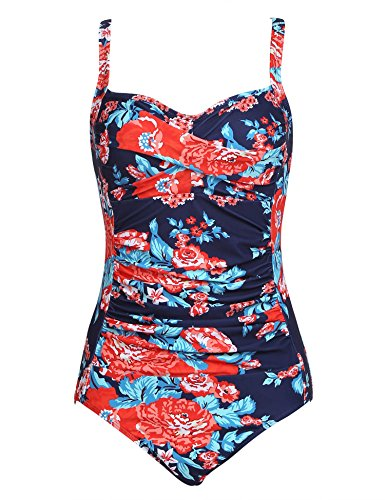 Ekouaer Halter Retro Vintage Bathing Swimwear Women's Tummy Control Monokini One Piece Swimsuit(Flower Blue,Medium)