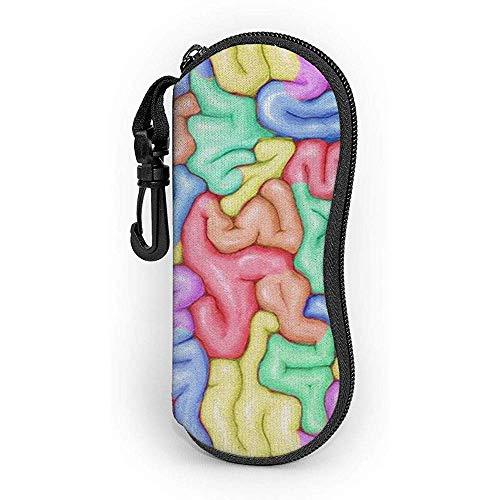 lymknumb Estuche de gafas Color Cerebro con mosquetón Gafas de sol con cremallera de neopreno portátil ultraligero Estuche blando