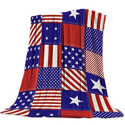 AEMAPE Manta Suave para sofá Cama, Feliz día de la Independencia, Estrellas y Rayas Americanas, Manta Ligera, Ligera, de Viaje, para Acampar, 50 'x 60'