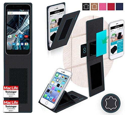reboon Hülle für Archos 50 Graphite Tasche Cover Case Bumper | Schwarz Leder | Testsieger