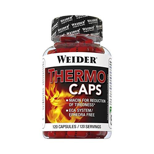 Weider Thermo Caps- 120 Capsulas. Disminuye el apetito. Potente fórmula termogénica con cafeína. Enriquecido con Cromo, Cúrcuma, l-Carnitina