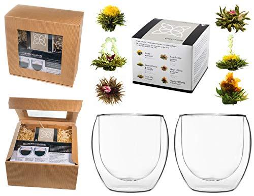 TEEBLUMEN-GESCHENKSET / 2x 410ml DUOS Jumbo Doppelwandgläser + 6er Box Teeblumen schwarzer Tee in neutraler naturfarbiger Geschenk-BOX - by Feelino