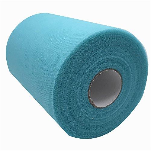 Carrete de tela de tul de 15,2 cm x 91,4 m, más de 59 colores disponibles, para caminos de mesa, sillas, lazos, faldas, tutús, costura, manualidades, tela para boda, fiestas, regalos Tiffany blue c57
