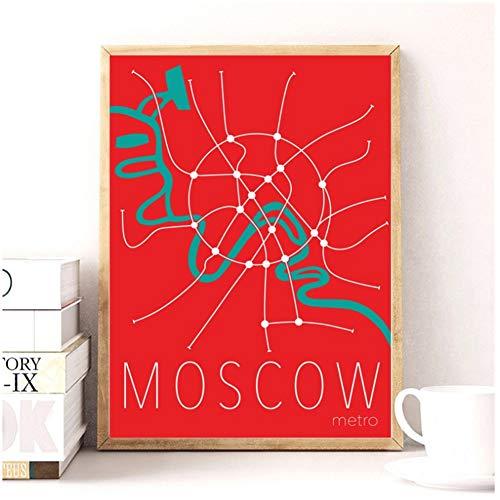 Mapa del metro de Moscú Arte Pintura Cartel Impresiones Decoración de la pared del hogar Pintura-40x60cm Sin marco