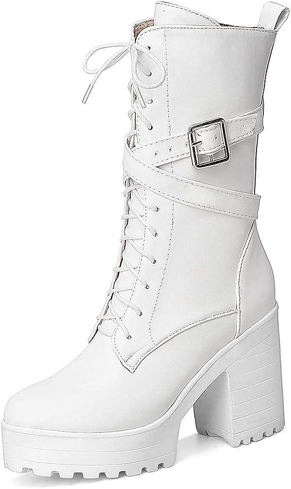 Parisuit Women's Chunky High Heel Lace Up Mid Calf Boots Goth Buckle Platform Combat Boots Punk Zip Up Booties