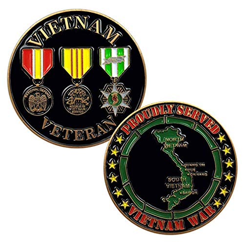 Vietnam Veteran: Proudly Served Vietnam War - 3 Medals and Map Challenge Coin
