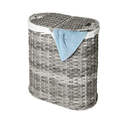 Seville Classics Handwoven Oval Double Laundry Hamper, Original 18-Inch, Gray
