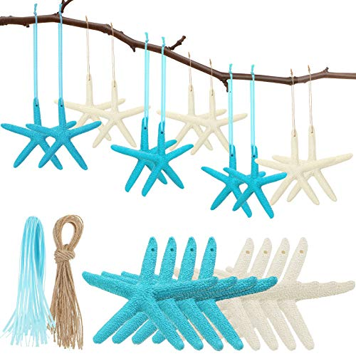 WILLBOND 20 Pieces Christmas Resin Starfish Ornaments Artificial Pencil Finger Starfish Hanging Decorations with Ribbon Rope for Beach Wedding Christmas Party DIY Craft Decorations
