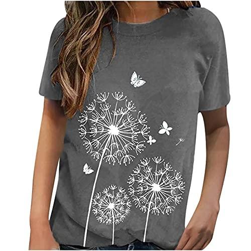 WANGTIANXUE Camisa de manga corta para mujer, de verano, cuello redondo, camiseta para mujer, camiseta de manga corta, camiseta de verano, moda impresa, ropa de calle deportiva y blusas gris L