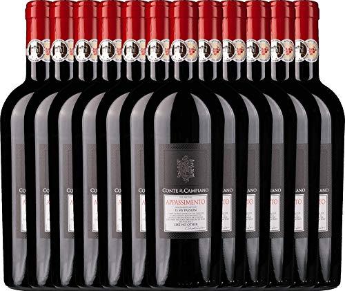VINELLO 12er Weinpaket Rotwein - Appassimento 2015 - Conte di Campiano mit Weinausgießer   halbtrockener Rotwein   italienischer Wein aus Apulien   12 x 0,75 Liter