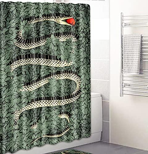 JOVEGSRVA Cartoon Schlange Duschvorhänge Wasserdicht Badezimmer Gardinen Trennvorhang Schimmel Proof Badvorhang Mit 12 Haken 180 X 180 cm