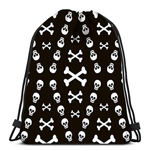 IUBBKI Mochila con cordón Bolsas deportivas cinch Tote Bags Calaveras con tibias cruzadas Eerie Halloween para almacenamiento de viaje