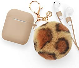 Airpods Case - BlUEWIND Drop Proof Air Pods Protective Pom Pom Keychain Case Cover Silicone Skin for Apple Airpods 2 & 1 Charging Case, Cute Fur Ball Airpods Key (Khaki case with leopard print pompom)