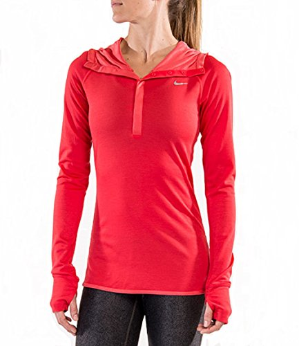 Nike Womens Dri-Fit Wool Running Hoodie 746790 (Medium, Action Red/Reflective Silver)