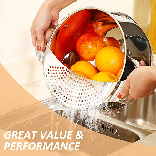2 Pieces Pot Strainer Stainless Steel Crescent Pot Strainer with Handle Pasta Strainer Pan Pot Strainer with Recessed…