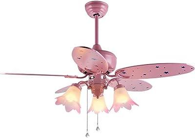 LAMP®-Ventilador de techo Niño de la niña de dibujos animados de color rosa claro Cute 42-inch ventiladores de madera: Amazon.es: Iluminación