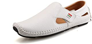 Shangruiqi Penny Loafers for Men Casual Shoes Slip-on Microfiber Leather Perforated Breathable Anti-Slip Flat Square Toe Stitching Business Driving Walking Anti-Skid (Color : White, Size : 6 UK)