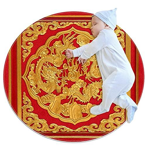 Alfombra Redonda de algodón Puerta roja Tallada en Madera Lavable a máquina, para el recibidor, Pasillo, hogar, Cocina, Sala de Estar, Dormitorio 100cm