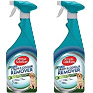 SimpleSolution 2 x 750ml Pet Stain and Odour Remover Spray with Pro-Bacteria Cleaning Power | Rainfo...