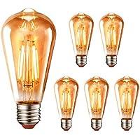 LVWIT Bombillas Vintage LED E27 (Casquillo Gordo) - 4.5W Equivalente a 40W, 423 lúmenes, Color Blanco cálido 2700K. Bombilla Retro Filamento ST64 Decorativa, No Regulable - Pack de 6 Unidades.