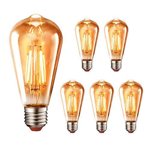 LVWIT Bombillas Vintage LED E27 (Casquillo Gordo) - 4.5W Equivalente a 40W, 423 lúmenes, Color Blanco cálido 2700K. Bombilla Retro Filamento ST64 Decorativa, No Regulable - Pack de 6 Unidades.