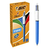 BIC 4 colores Original bolígrafos Retráctiles punta media (1,0 mm) – Caja de 12 unidades