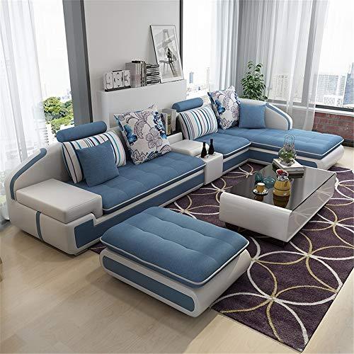 WSN Divano angolare,Set di mobili Divano componibile modulare in Vimini Patio in Rattan Montare divani componibili modulari Set di Cuscini Cuscini Facili da Montare