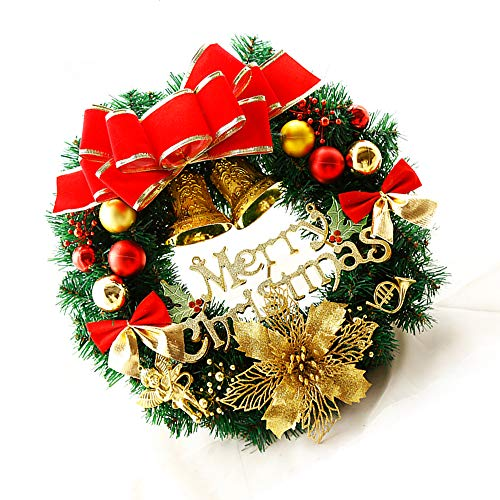 yzf Christmas Wreath, 40 Cm Handmade Christmas Wreath With Red Bows, Golden Bells, Wall-Mounted Windows For Indoor And Outdoor Doors, Home Christmas Holiday Decorations,