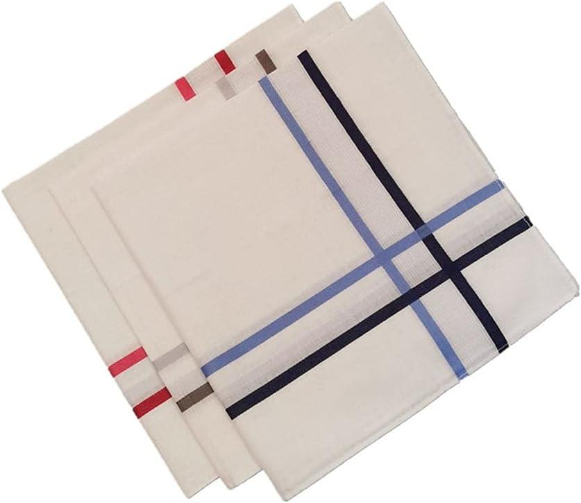 DIAOD 3PCs Cotton Handkerchief Grid Checker for Gentlmen Vintage Business Gentleman Pocket